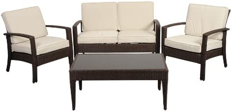 Atlantic 4-Piece Tahiti Deluxe Wicker Conversation Set