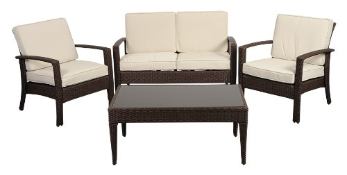 "Atlantic 4-Piece Tahiti Deluxe Wicker Conversation Set, Brown with Off-White Cushions - Atlantic Lifestyle Collection 2 armchairs 29wx26dx31.5h w/cushions, 1 loveseat 29""wx47.5""dx31.5""h, 1 coffee table 22wx40dx18h w/ glass top. Armchair Seating Dimensions: 21Wx21Dx21H. Sofa Seating Dimensions: 43Wx20Dx18H. High quality synthetic wicker construction. Its resistance to weather and UV radiation makes the set durable and enjoyable. - patio-furniture, patio, conversation-sets - 41Tx5qqv%2BVL -"