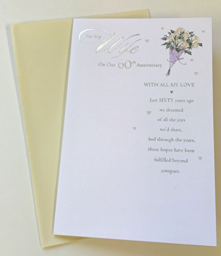 Wife Wedding 60 Year Together Anniversary 60th Diamond New Greetings Card (Wedding Anniversary Verses For Mum And Dad)