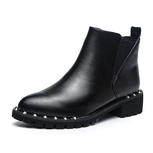 Boots Rivets Casual Female UK7 Martin UK3 Leather Black Style Boots Thick Retro Women's Short Snow With Boots xnSOqRUIwO