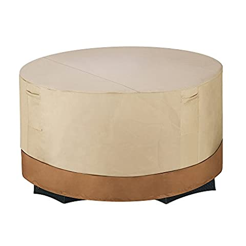 DTX International Villacera Patio Table and Chair Cover Round Beige and Brown Small - Vinyl Barbecue Cover