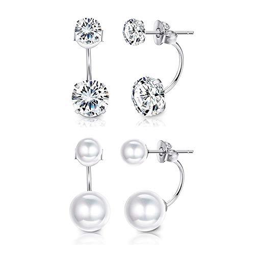 Sllaiss 2 Pairs Double Ball Freshwater Pearl Earrings Cubic Zirconia Jacket Earrings 925 Sterling Silver Earrings Sets Women Girls Special Jewelry