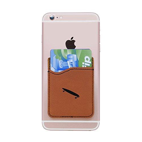 Modern Goods Shop Brown Self-Adhesive Wallet with Laser Etched Longboard Design - Credit Card Pocket for 3 Cards - Fits Most Smartphones