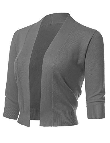 ARC Studio Women's Classic 3/4 Sleeve Open Front Cropped Cardigans (S-XL) (Large, Heather Gray)