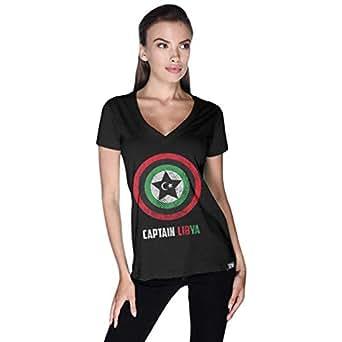 Creo Black Cotton V Neck T-Shirt For Women
