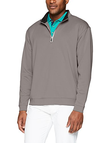(Men's Pebble Beach Golf Long Sleeve 1/4 Zip Pullover with Contrast Trim, Pearl Gray,)