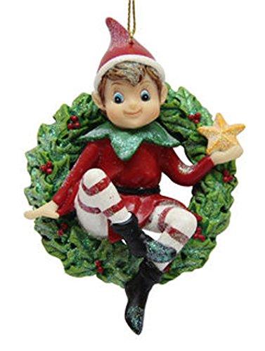December Diamonds Ornament, Elf Sitting On A Wreath