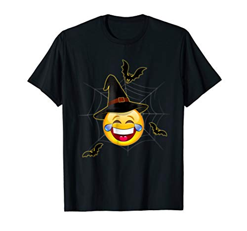Funny Halloween Emoji Witch Face With Tears of Joy T-Shirt ()