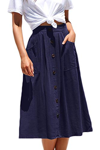 Meyeeka Basic Stretchy Clubwear for Women High Waist A-line Flared Skater Cotton Skirt S Navy (Eyelet Mini Skirt)