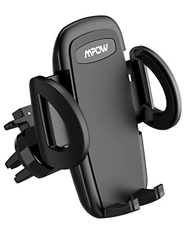 Mpow Air Vent Car Phone Mount, 3-Level Adjustable Clamp Car Phone Holder, Car Cradle Compatible with iPhone, Galaxy Note, Google Pixel, Motorola, BLU Phone, Smartphones Under 6 inch ()