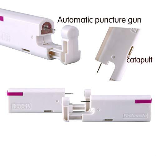 2PCS Ear Nail Gun Disposable Aseptic Household Ear Piercing Gun Portable Ear Piercing Gun Group Ear Piercing Tools (New Generation) (4MM, Silver)