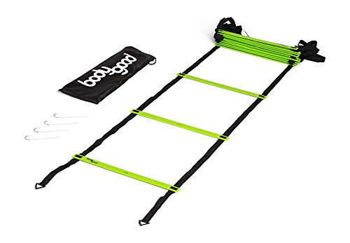 BodyGood Pro Athlete Grade Speed Agility Ladder – Extra-Long, 20 Foot Quick Ladder with Durable Flat Rungs for Easy Set Up and Consistent Workout. Includes Free Carrying Bag and Online Training Vide