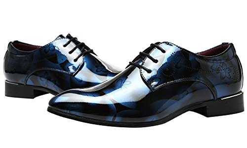 6c7901319408d Jumuland Men's Fashion Dress Business Oxford Leather Shoes Lace up Pointed  Toe with Shiny Floral Pattern