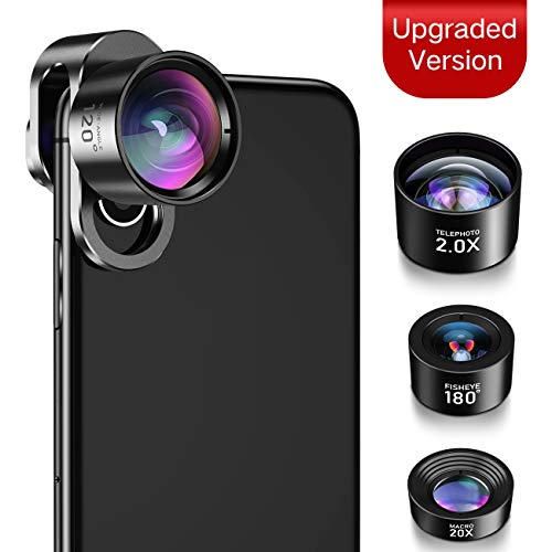 iPhone Camera Lens, JOPREE【Upgrade】 4 in 1 iPhone Lens Kit, 20X Macro Lens, 2.0X Zoom Telephoto Lens, 120°Wide Angle Lens, 180°Fisheye Lens for iPhone X/8/7/7 Plus/6s Plus/6/5 & Samsung & Smartp