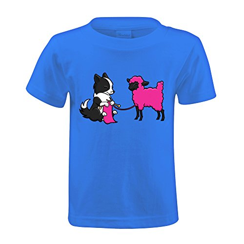 Foreric Border Collie Knitting T Shirts Little Child Blue