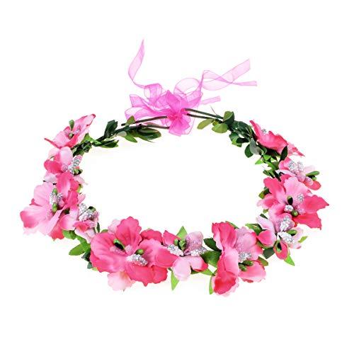 (Love Sweety Girls Boho Rose Floral Crown Wreath Wedding Flower Headband Headpiece (A-Rose Red))