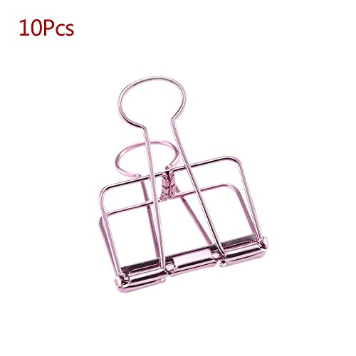 Arms Stationery Design - GerTong 10 Pcs/Set Creative Metal Hollow Clip Long Tail Photo Folder Dovetail Binder Clips Office Supplies Student School Stationery (Pink)