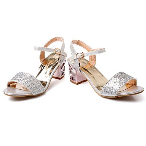 AIYOUMEI Damen Glitzer Offene Zehen Blockabsatz Knöchelriemchen Sandalen mit 6cm Absatz Chunky Heel Bequem Modern Schuhe Silber