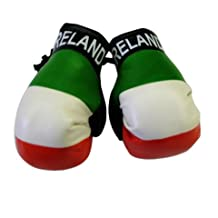 Flag Mini Small Boxing Gloves to Hang Over Car Automobile Mirror -Europe (Country: Ireland)