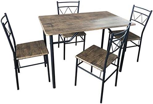 SF SAVINO FILIPPO - Juego completo de comedor de cocina, mesa con 4 sillas de hierro gris y metal MDF color marrón imitación madera para interior de salón, porche, casa: Amazon.es: Jardín