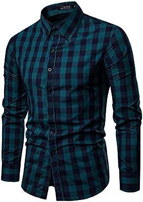 Weentop Hombres Rejilla Camisa Acolchada Acolchada de algodón de Hombre Slim Fit Cuello de Solapa Botones de Manga Larga Tops con Bolsillos (M-XXL) (Color : Verde, tamaño : Metro): Amazon.es: Hogar