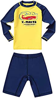 Gogokids Gilrs Boys Two Piece Rash Guard Swimsuits Kids Long Sleeve Sunsuit Swimwear Sets