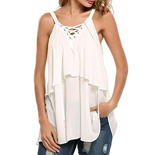 Creazydog Women Casual Lace Up Sleeveless Crop Top Vest Tank Shirt Blouse Cami Tops (White, XL)
