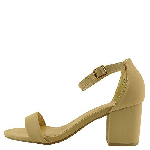 Bamboo Highlight 06S Womens Open Toe Chunky Heel Sandals Nude xri2DlrWJ