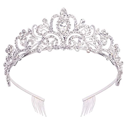 Didder Silver Crystal Tiara Crown Headband Princess Elegant Crown with combs for Women Girls Bridal Wedding Prom Birthday Party]()