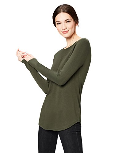 Daily Ritual Womens Supersoft Terry Long-Sleeve Shirt with Shirttail Hem