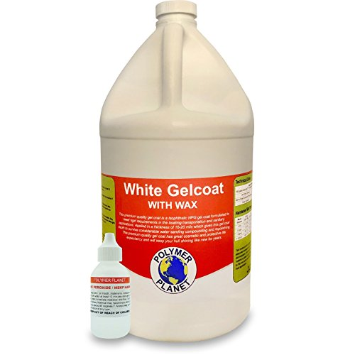 Wax Gelcoat WhiteTop Coat Base (Fiberglass Marine Boat Gel Repair) Gallon Kit 2 Mil White Polyester