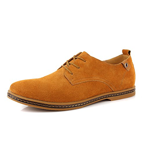 Cior Heren Oxford Classic Dress Suède Casual Schoenen Lace-up Loafer Flats Sneakers 01camel