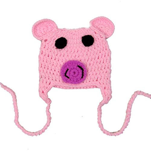 [Cute Pig Knitted Warm Woolen Baby Infants Cap Winter Warm Beanie Hat] (Pig Infant Costumes)
