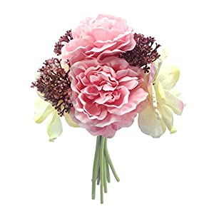 Hand Tie Artificial Peony Silk Flowers Bounquet, Bridal Wedding(Pack of 1 ) 47