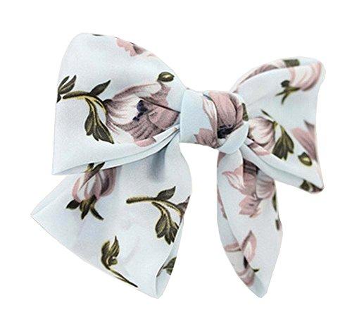 Chiffon Daffodil - Elegant Chiffon Bow Hair Barrette Hair Clip Daffodils Blue