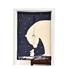 Cartoon Japanese Style Short Kitchen Cloth Curtain Bedroom Curtains, Dark Blue