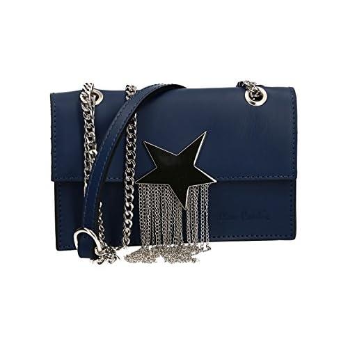 ac3f0de88ca Bolsa mujer de hombro mini PIERRE CARDIN azul en cuero Made in Italy VN2137  El servicio