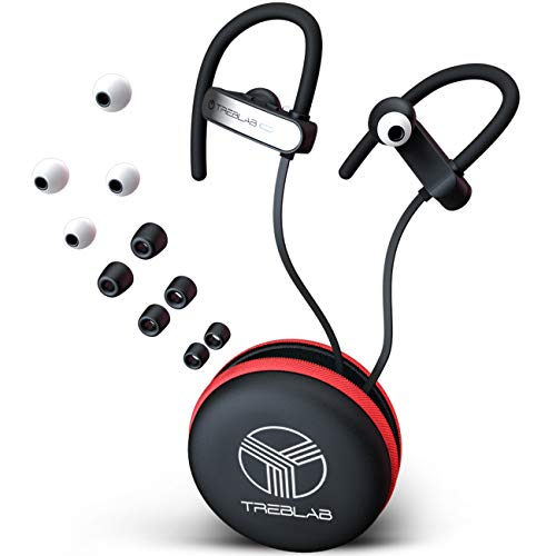TREBLAB XR800 Bluetooth Headphones, Best Wireless Earbuds For Sports, Running Or Gym Workouts. 2018 Best Model. IPX7 Waterproof, Sweatproof, Secure-Fit. Noise-Cancelling Earphones w/ Mic (White)