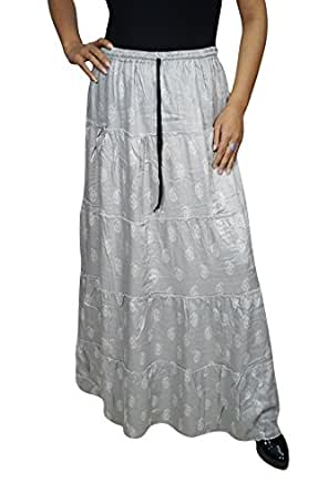 Womens Boho Skirt Angelica Grey Paisley Printed Rayon Maxi Skirts Large