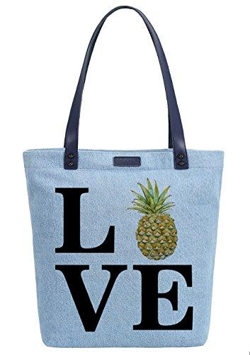So'each Women's Love Pineapple Denim Dye Handbag Tote Shoulder Shopper Bag Azul