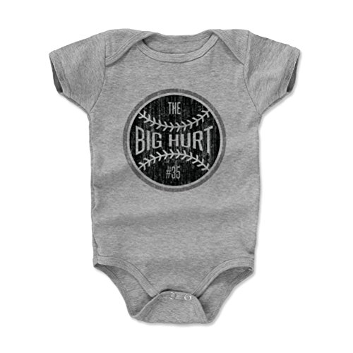 (500 LEVEL Frank Thomas Baby Clothes, Onesie, Creeper, Bodysuit 12-18 Months Heather Gray - Vintage Chicago Baseball Baby Clothes - Frank Thomas Big Hurt Ball K)