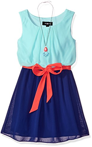 Amy Byer Big Girls' Sleeveless Colorblock Dress, Mint, 14