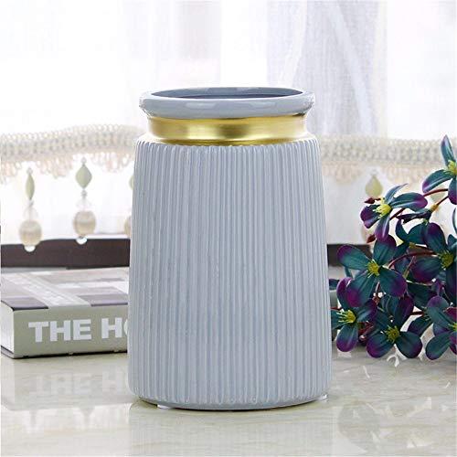 1 pcs ceramic vase modern geometric decoration vase vertical pattern straight tube flower arrangement artificial flower Table Vase green white gardening indoor and outdoor ()