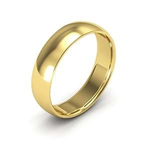18K Yellow Gold men's and women's plain wedding bands 5mm