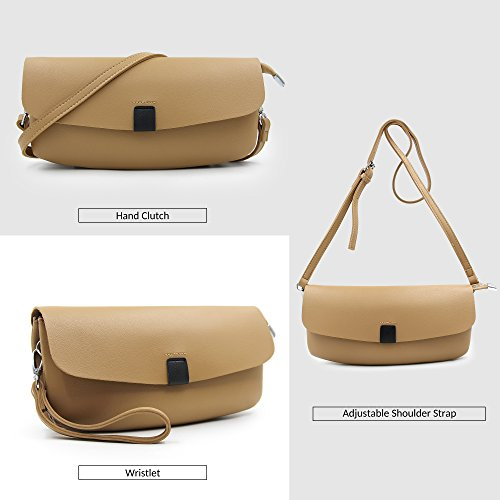 Strap And Purses and Shoulder clutch Women Bags Handbags Solid Crossbody Evening Leather purse Kahki Clutches With vTW6CWq
