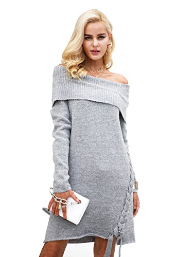 Simplee Apparel Women's Sexy Off Shoulder Lace Up Oversized Sweater Dress Grey