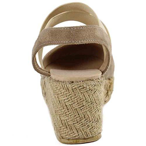 Simple Et Plates Rond Piabigka Bande Dames sandales Beige Boucle Pour Bout Élastique Talons Plateforme À Femmes Sandales Mode sandale sandale Compensées H7qHzv