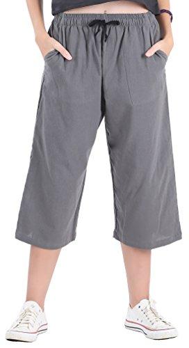 CandyHusky Womens Loose Elastic Waist Cotton Casual Capri Wide Leg Palazzo Pants (L/XL, Grey)