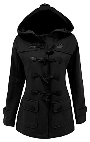QZUnique Women's Middle Long Outerwear Slim Hoodie Pea Coat Jacket Black US 10-12