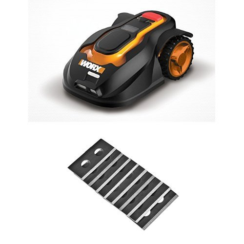 WORX WG794 Landroid Pre-Programmed Robotic Lawn Mower with Rain Sensor and Safety Shut-off with 12-Piece Replacement Blades Included